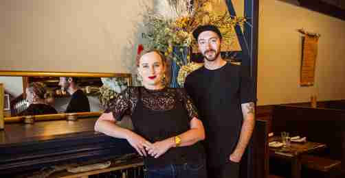 Young couple who own Amok pictured standing in their restaurant