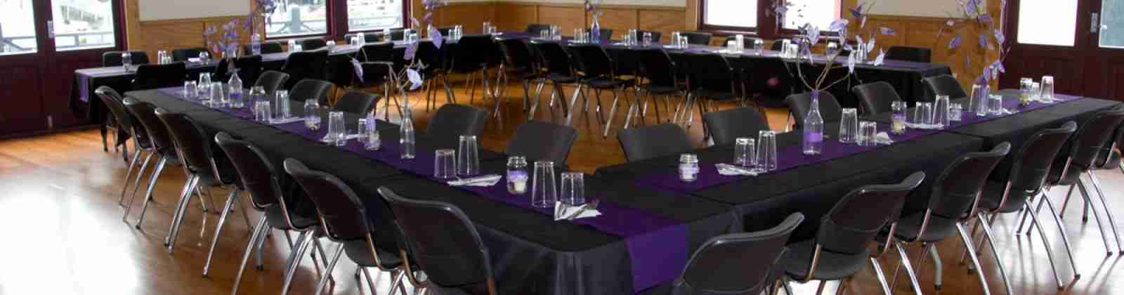 BE Wellington Rowing Club table chairs wooden floor purple decor