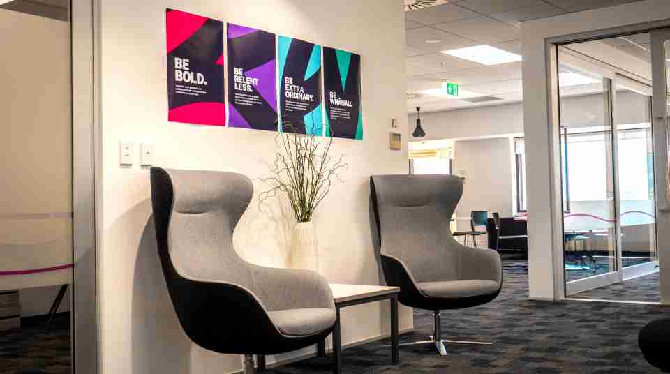 Business corporate Volpara Office space blue wellington view harbour window12
