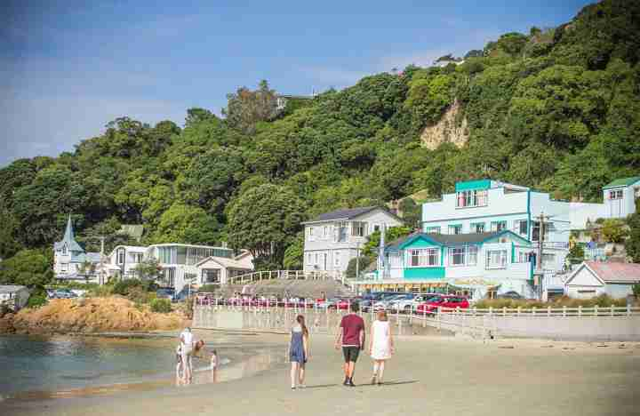 Lyall Bay sandy beach people hill houses