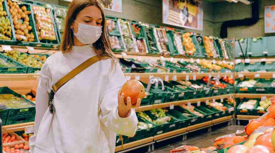business. Get Smart Global.woman wearing mask in supermarket
