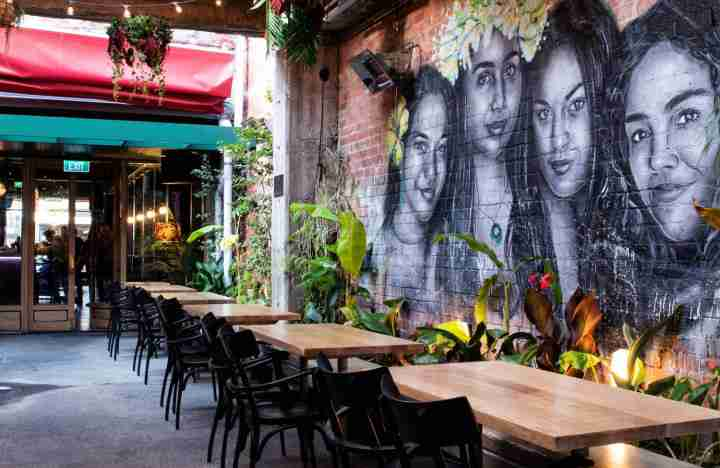 Lulu bar Courtenay Place outdoor area and mural