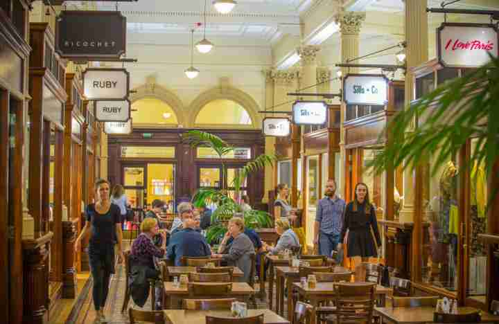 Old Bank Arcade interior shoppers