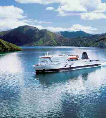 Interislander sailing through the Marlborough Sounds