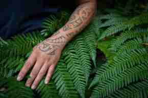 Pukaha arm with tā moko with fern in background
