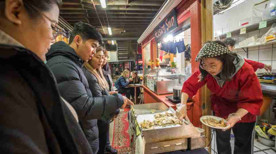 Wellington Night Market dumpling stall and customers Credit Nicola Edmonds