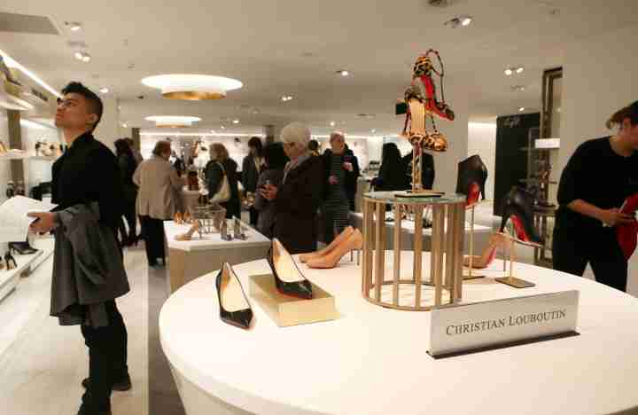 shopping David Jones boutique fancy expensive department store shoes people heels christian louboutin designer